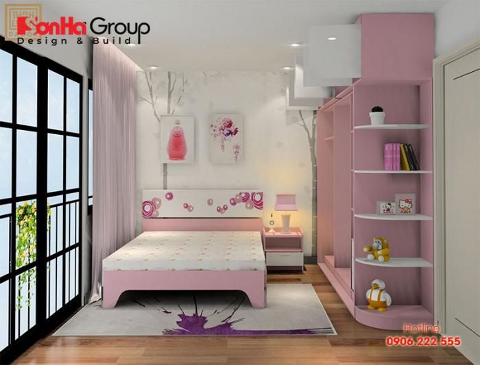 Mẫu phòng ngủ đơn giản đẹp dành cho bé gái với thiết kế ấn tượng