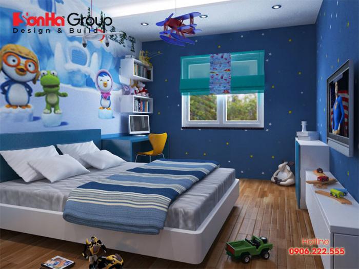 Màu xanh khá được sử dụng nhiều trong trang trí nội thất phòng ngủ bé trai