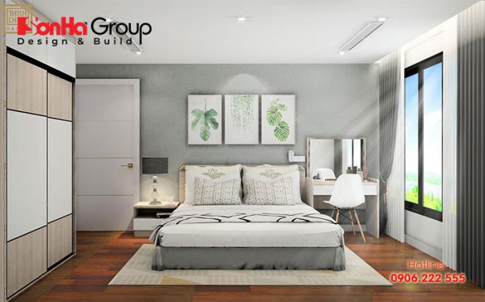 Sự kết hợp màu trắng và ghi làm nên nét sang trọng cho phòng ngủ 12m2