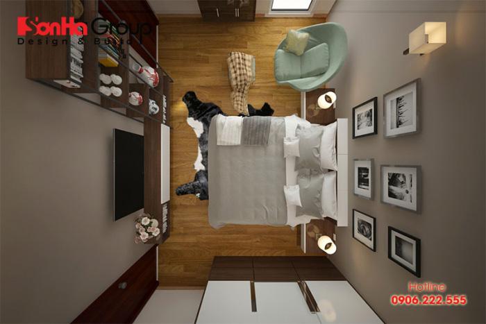 Sự tiện nghi vẫn được thể hiện trong thiết kế phongg ngủ chỉ 7m2