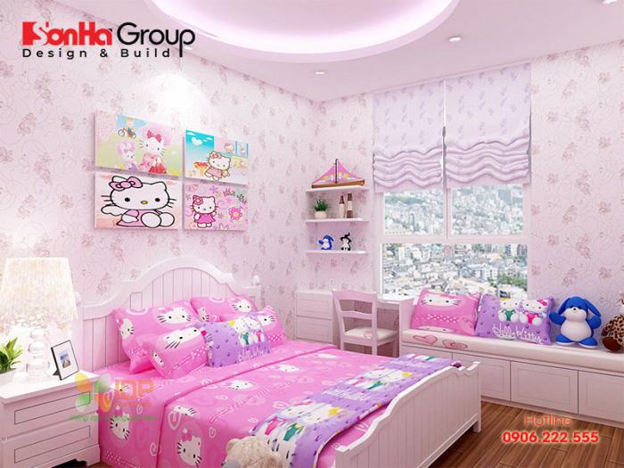 Thiết kế phòng ngủ bé gái đơn giản mà đẹp với gam màu hồng tươi trẻ