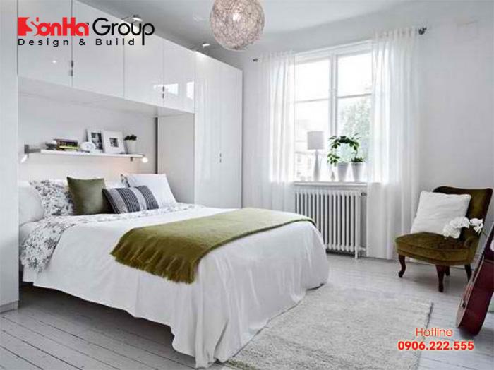 Thiết kế phòng ngủ đẹp đơn giản 9m2 với gam màu trắng thanh nhã