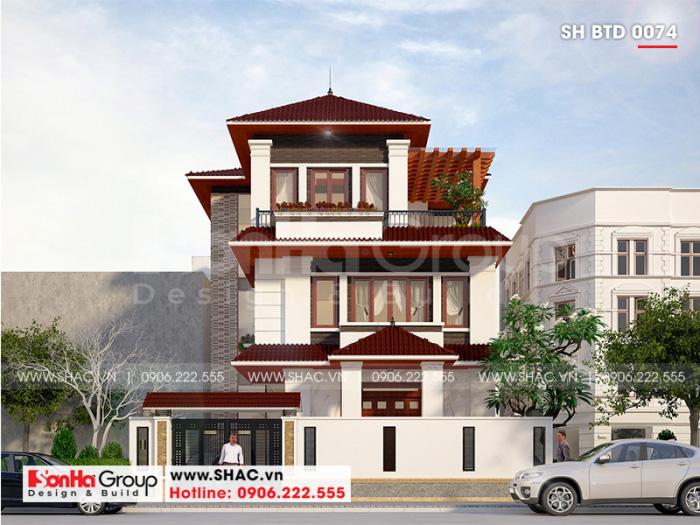 Mẫu nhà biệt thự 3 tầng hiện đại mái thái 4 phòng ngủ tiện nghi tại Quảng Ninh