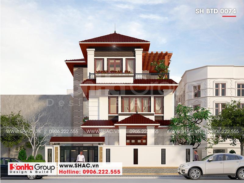 Mẫu biệt thự hiện đại mái thái 3 tầng diện tích 12x18m tại Quảng Ninh – SH BTD 0074 1