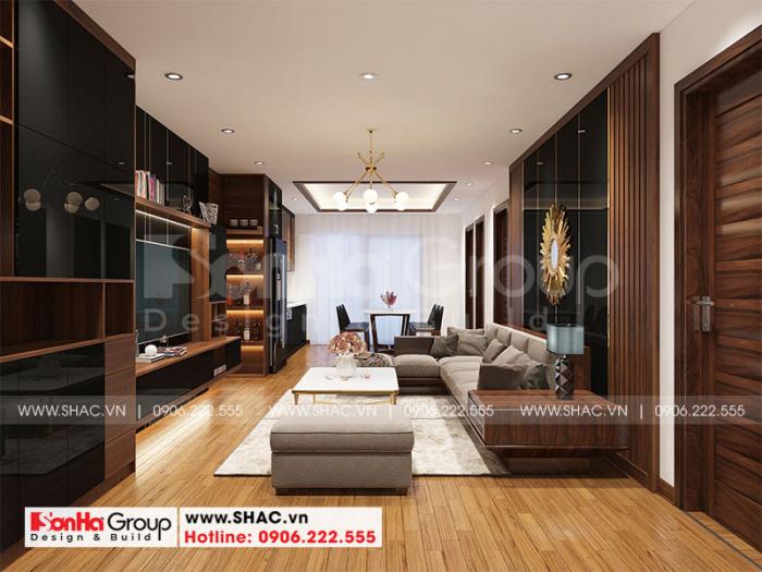Mẫu thiết kế nội thất phòng khách căn hộ sang trọng phong cách hiện đại