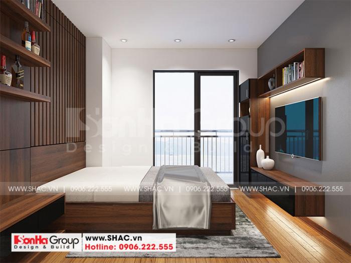 Thiết kế phòng ngủ hiện đại đã khai thác tốt lợi thế view ban công