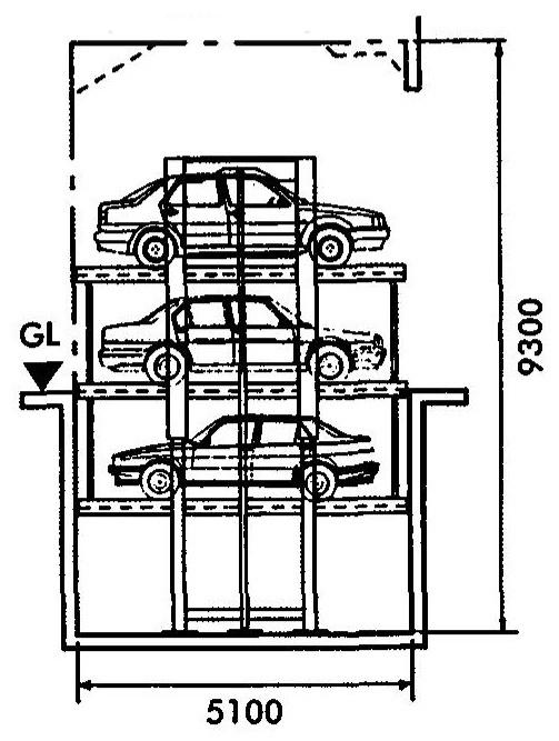 14.chieu cao gian nang xe oto trong bai xe nhieu tang