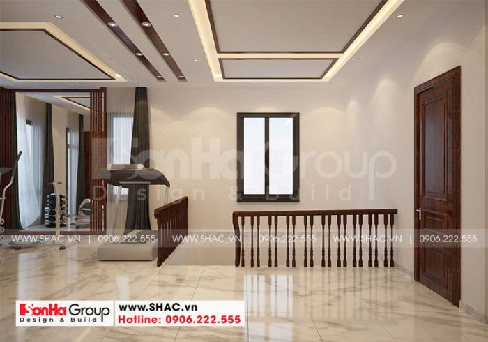 Thiết kế nội thất sảnh thang biệt thự hiện đại 3 tầng hình vuông tại Hải Phòng