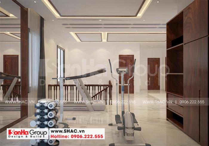 Thiết kế nội thất phòng tập tiện nghi trong không gian nội thất biệt thự hiện đại