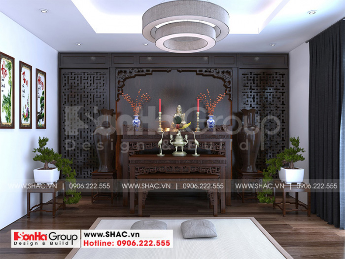 Thiết kế nội thất phòng thờ tôn nghiêm và phong thủy với đồ nội thất gỗ thịt