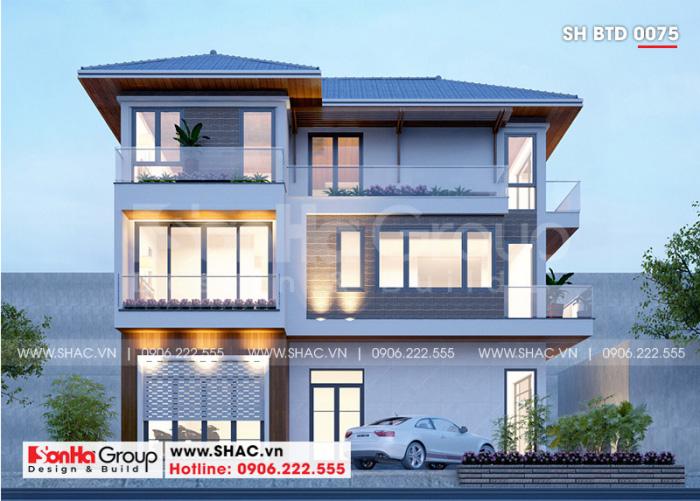 Biệt thự đẹp 3 tầng kiến trúc hiện đại nổi bật với mái thái và màu sắc tinh tế
