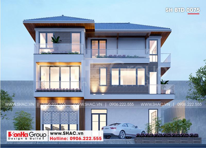 Phong cách mái thái làm lên nét nổi bật cho căn nhà