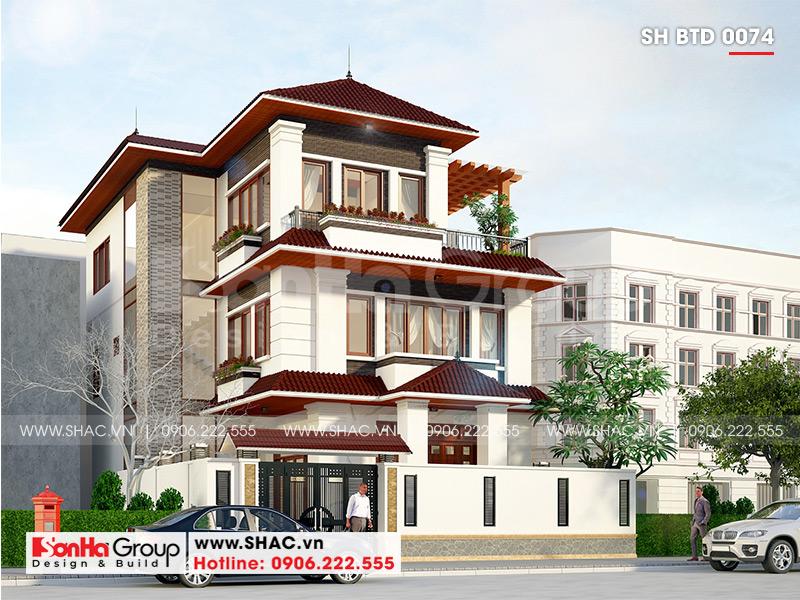 Mẫu biệt thự hiện đại mái thái 3 tầng diện tích 12x18m tại Quảng Ninh – SH BTD 0074 2