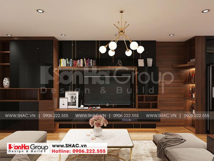 Không gian phòng khách căn hộ chung cư hiện đại nổi bật với nội thất gỗ