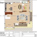 20 Mặt bằng tầng 1 biệt thự hiện đại mặt tiền 12,3m tại hải phòng sh btd 0075