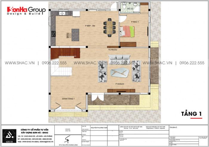 Bản vẽ mặt bằng công năng tầng 1 biệt thự hiện đại 3 tầng mái thái tại Hải Phòng