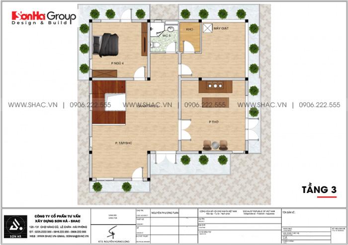 Bản vẽ mặt bằng công năng tầng 3 biệt thự hiện đại 3 tầng mái thái tại Hải Phòng