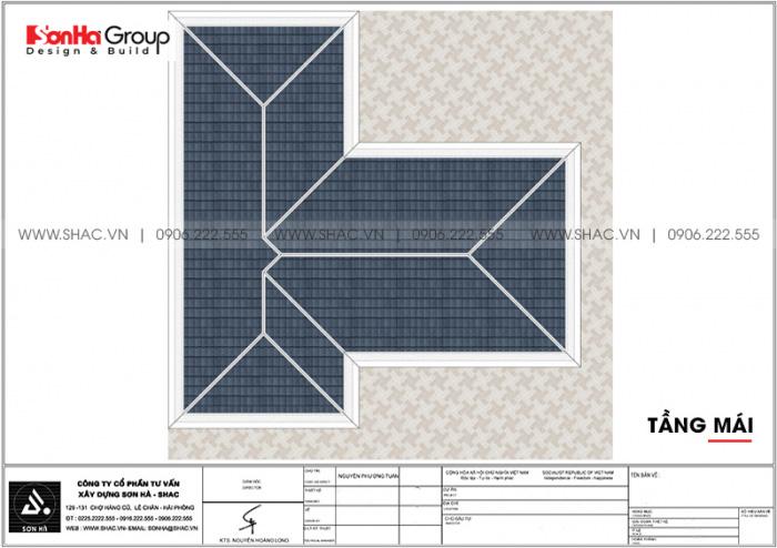 Bản vẽ mặt bằng công năng tầng mái biệt thự hiện đại 3 tầng mái thái tại Hải Phòng