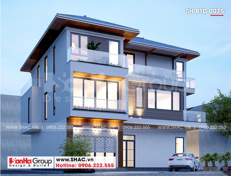 Biệt thự 3 tầng hình vuông sở hữu mặt tiền đẹp với thiết kế ấn tượng
