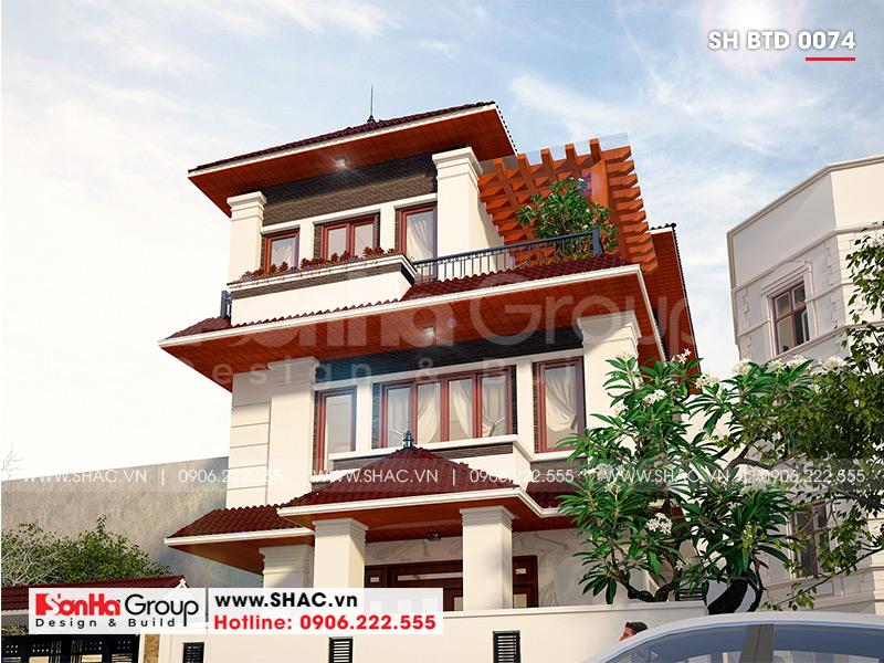 Mẫu biệt thự hiện đại mái thái 3 tầng diện tích 12x18m tại Quảng Ninh – SH BTD 0074 3