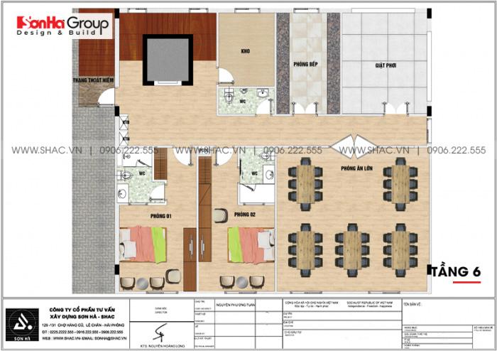 Bản vẽ thiết kế công năng tầng 6 khách sạn mini 2 sao tân cổ điển tại Hải Phòng