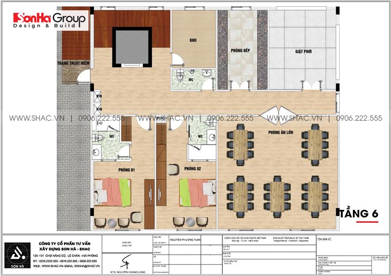 Thiết kế khách sạn mini 2 sao 6 tầng tân cổ điển tại Hải Phòng – SH KS 0067 4