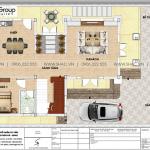 4 Mặt bằng tầng 1 biệt thự hiện đại 2 mặt tiền tại quảng ninh sh btd 0074