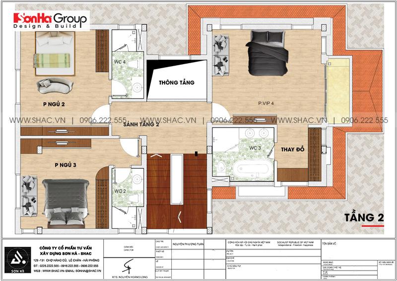 Mẫu biệt thự hiện đại mái thái 3 tầng diện tích 12x18m tại Quảng Ninh – SH BTD 0074 5