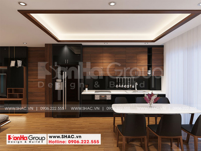 Không gian bếp ăn căn hộ hiện đại mang đến cảm giác ấm cúng và sạch sẽ
