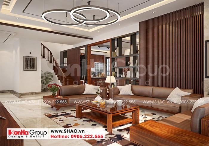 Nội thất gỗ thịt cao cấp làm sáng bừng không gian phòng khách biệt thự