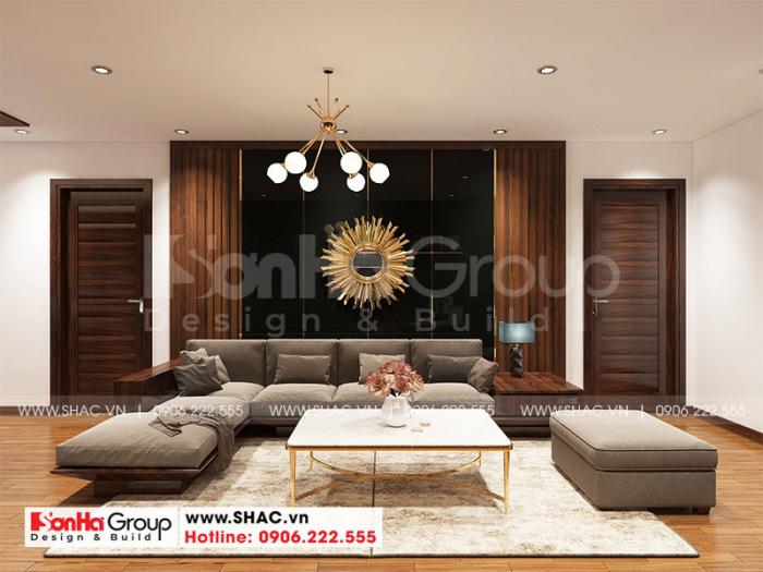 Thiết kế phòng khách đẹp và sang với đồ nội thất gỗ bố trí hợp lý