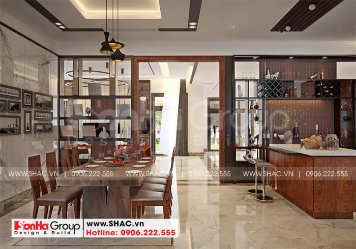Không gian nội thất phòng bếp ăn biệt thự hiện đại 3 tầng rộng rãi