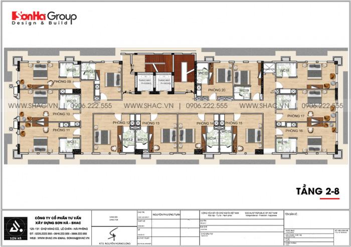 Mặt bằng tầng 2 đến 8 khách sạn 3 sao tân cổ điển 9 tầng tại Phú Quốc