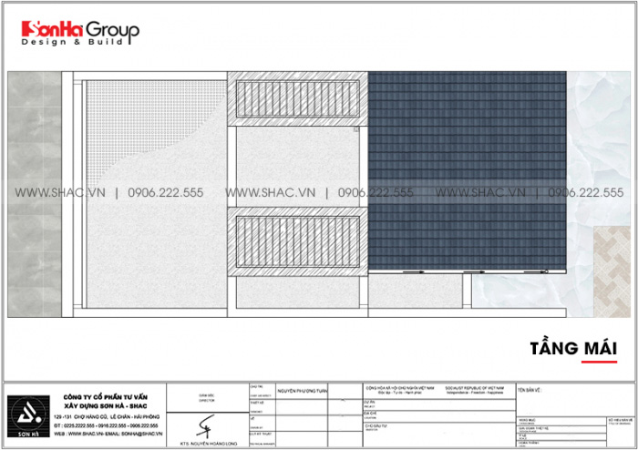 Bản vẽ công năng mặt bằng tầng mái nhà ống hiện đại mặt tiền 6m tại Hà Nội