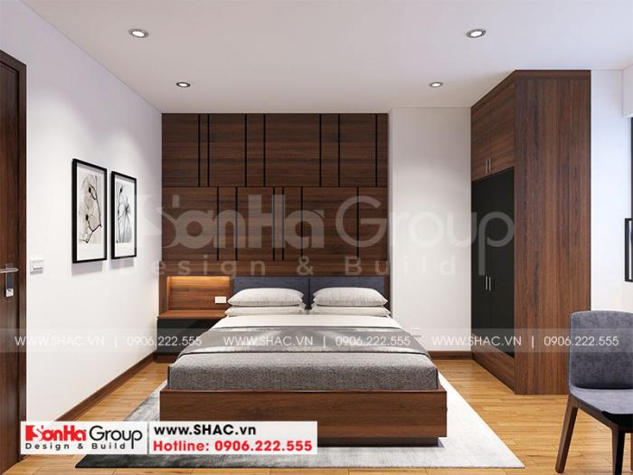 Thiết kế phòng ngủ đẹp với nội thất gỗ bố trí gọn gàng và hợp thời
