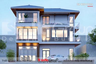 BÌA thiết kế biệt thự mái thái 3 tầng kiểu hiện đại tại hải phòng sh btd 0075