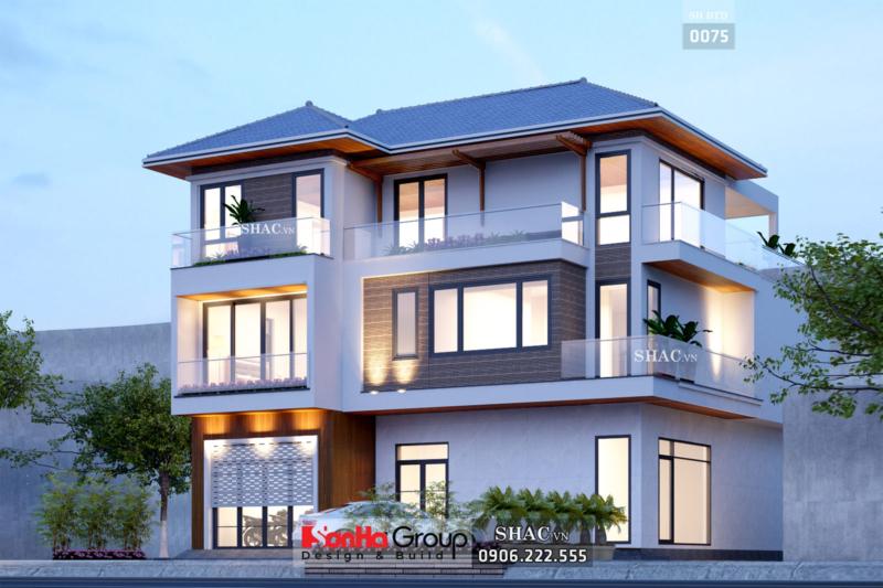 Biệt thự 3 tầng mái thái diện tích 155m2 mặt tiền 12m
