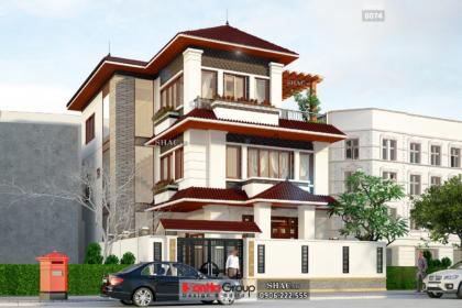 Biệt thự hiện đại mái thái 3 tầng diện tích 216m2