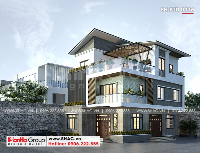 Biệt thự hiện đại 3 tầng mái thái diện tích 9,2x11,7m tại Hà Nam – SH BTD 0076 1