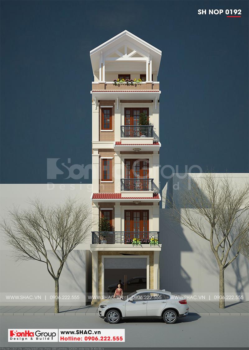 Thiết kế nhà ống tân cổ điển 5 tầng kết hợp kinh doanh tại Hà Nội – SH NOP 0192 1