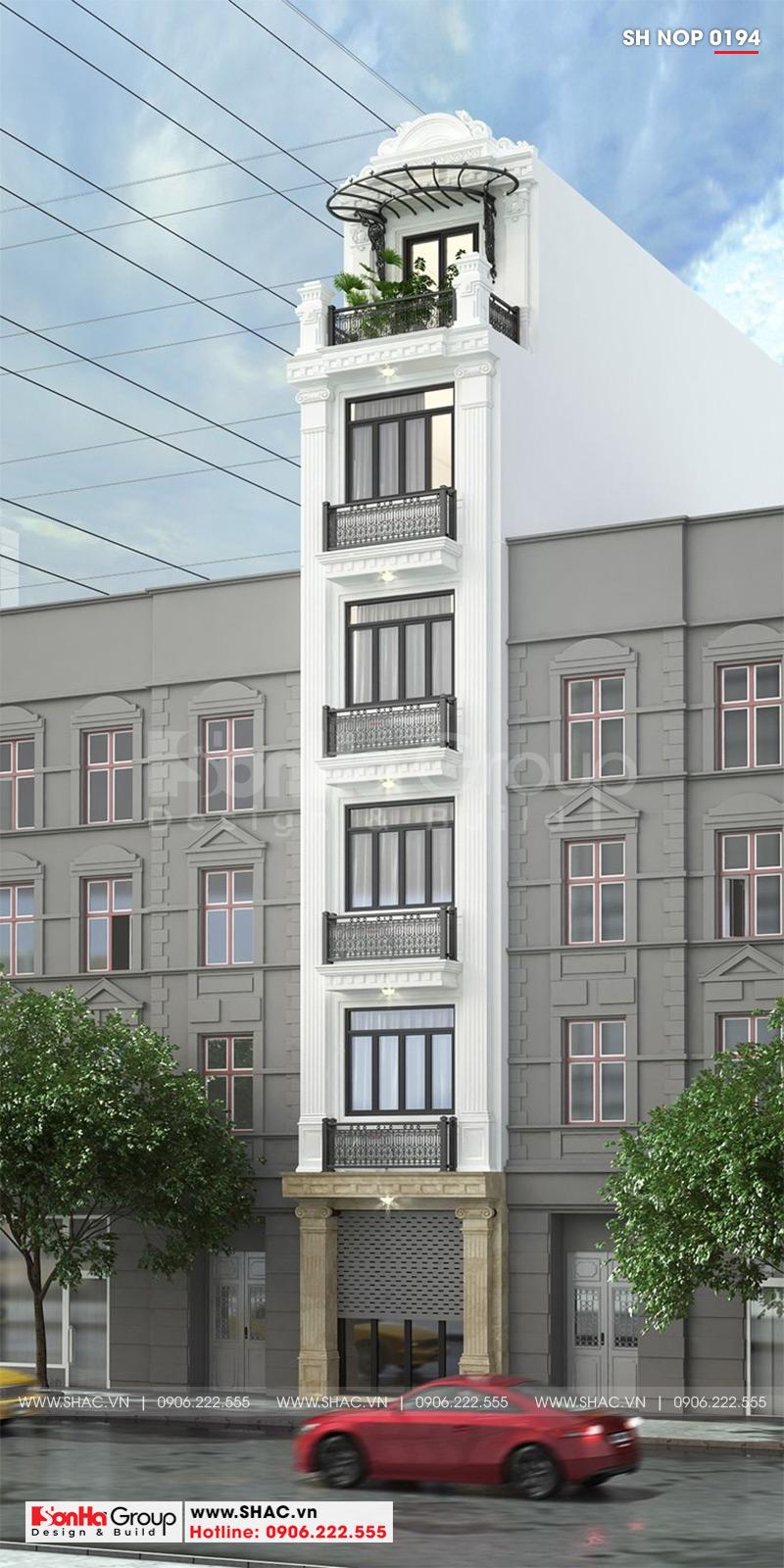 Thiết kế nhà ống tân cổ điển đẹp tại Quảng Ninh với 6 tầng bố trí hợp lý