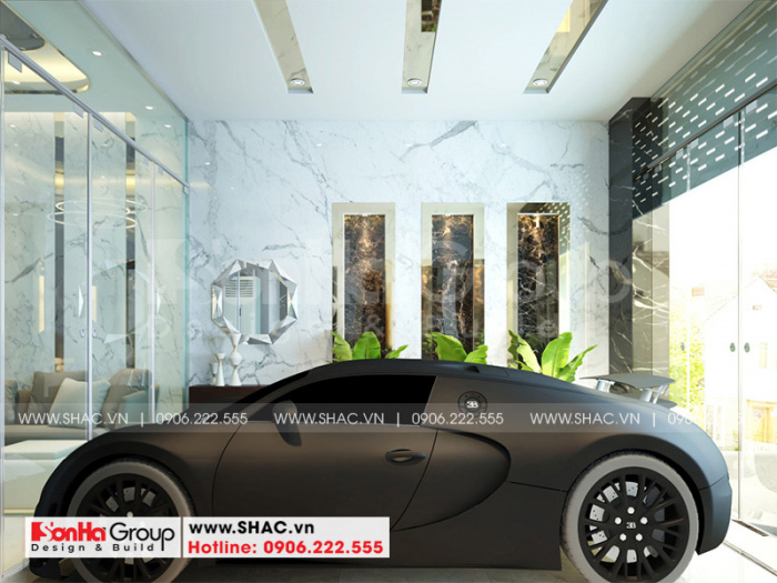 Thiết kế gara ôtô rộng rãi tại tầng 1 ngôi nhà phố mặt tiền 4m tại KĐT Waterfront City -Hải Phòng