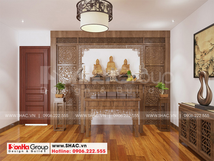 Thiết kế nội thất phòng thờ tôn nghiêm với nội thất gỗ cao cấp