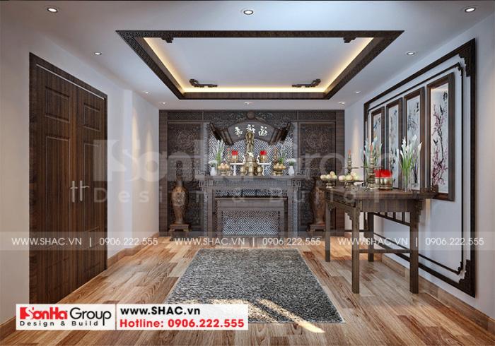 Thiết kế nội thất phòng thờ linh thiêng sử dụng chủ yếu vật liệu gỗ