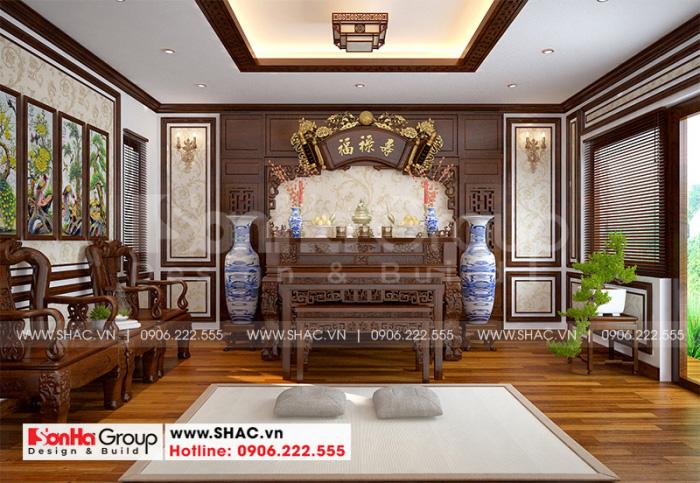 Cách bố trí nội thất phòng thờ trang nghiêm với đồ nội thât gỗ tự nhiên