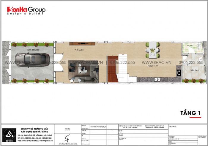 Bản vẽ mặt bằng tầng 1 nhà ống hiện đại 3 tầng 3 phòng ngủ tại Hải Phòng