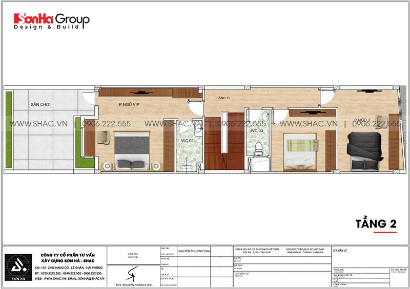 Mẫu thiết kế nhà ống đẹp 3 tầng hiện đại 5x15m tại Hải Phòng – SH NOD 0203 6