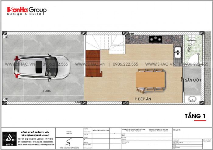 Bản vẽ mặt bằng công năng tầng 1 nhà ống hiện đại có gara ô tô tại Lạng Sơn