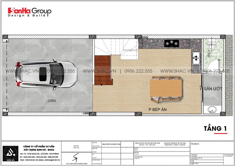 Nhà ống hiện đại 5 tầng 4,8x14,45m tại Lạng Sơn có gara ô tô - SH NOD 0206 3