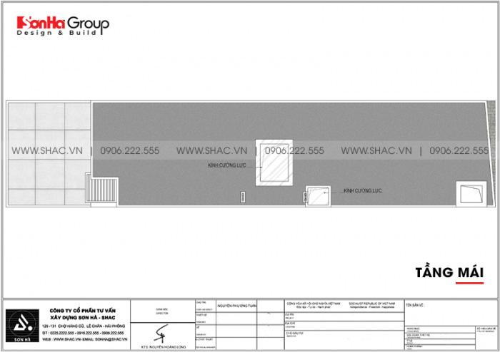 Bản vẽ mặt bằng tầng mái nhà ống hiện đại 3 tầng 3 phòng ngủ 5x15m